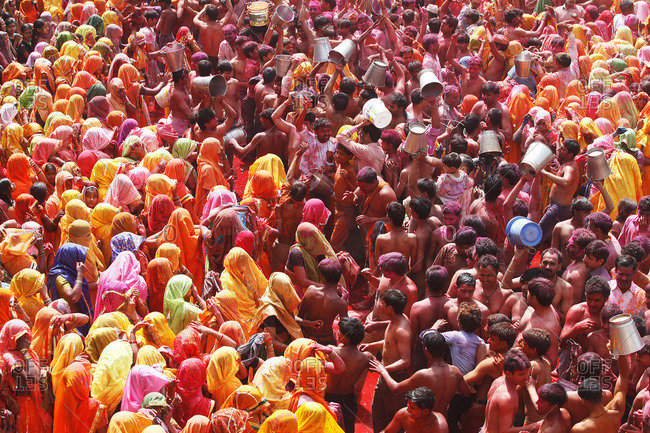 Uttar Pradesh, India, Asia - March 9, 2012: Holi celebration in Dauji temple, Dauji.