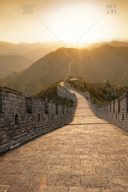 Great Wall of China, Huanghuacheng (Yellow Flower) at sunset, Ming dynasty, Jiuduhe Zhen, Huairou, China, Asia