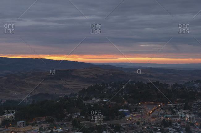 Afterglow behind Gondar city, Ethiopia