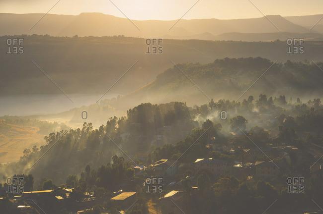 Silhouette of Gondar city, Ethiopia