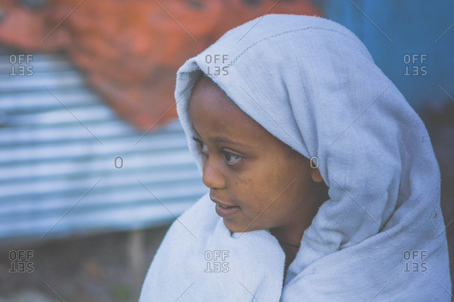 Gonder, Ethiopia - January 19, 2008: Overhead view of Amharic child