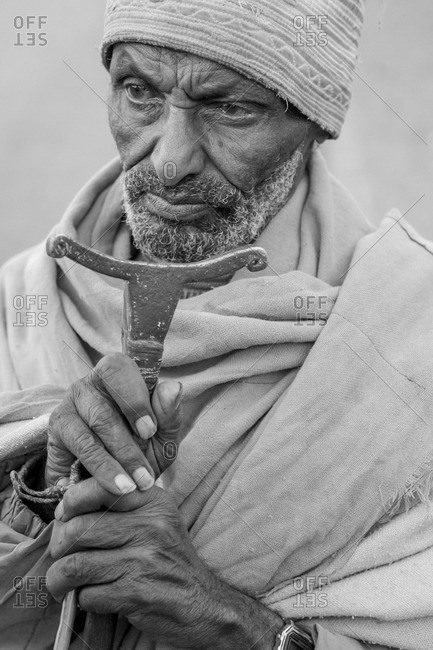 Gonder, Ethiopia - January 19, 2008: Portrait of an Amharic old man