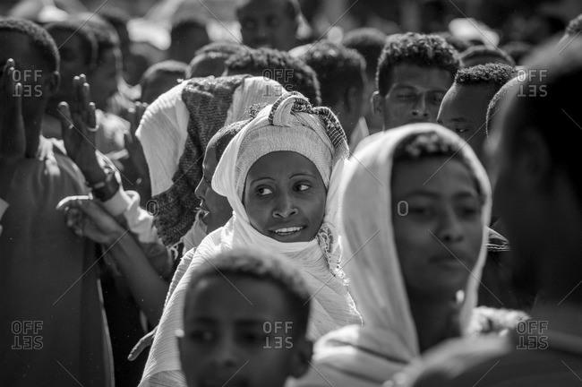 Gonder, Ethiopia - January 19, 2008: Amharic people on a ceremony