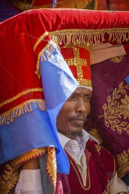 Gonder, Ethiopia - January 19, 2008: Ethiopian Orthodox person celebrating Christmas