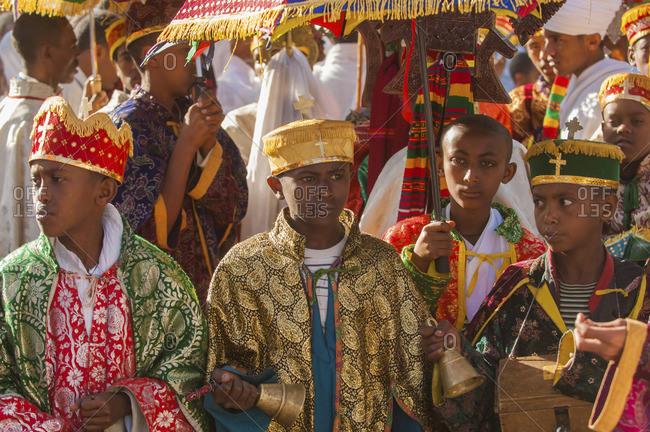 Gonder, Ethiopia - January 20, 2008: Ethiopian Orthodox children celebrating Christmas
