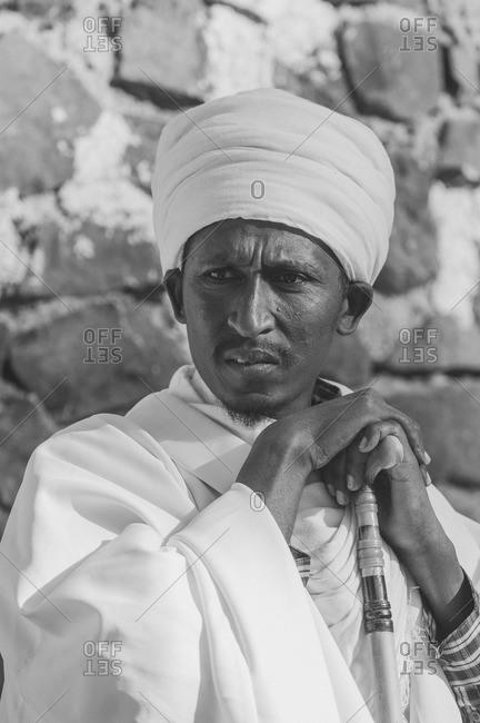 Gonder, Ethiopia - January 20, 2008: Portrait of an Ethiopian man