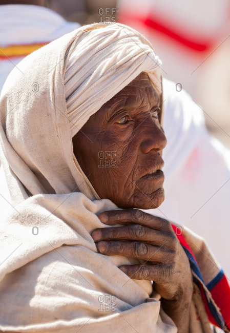 Close up of a woman at the Timket Festival in Lalibela, Ethiopia