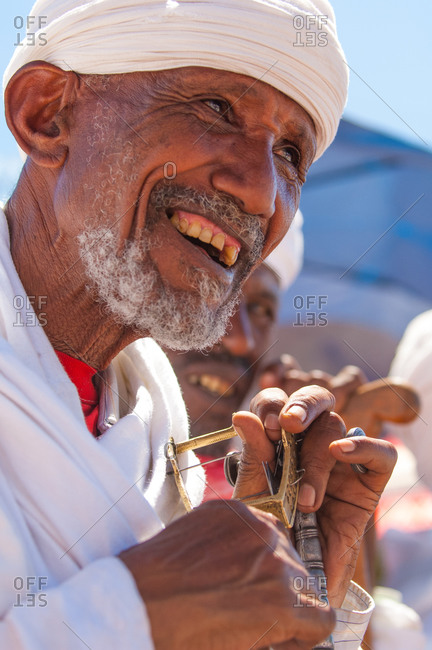 Close up of a man at the Timket Festival in Lalibela, Ethiopia