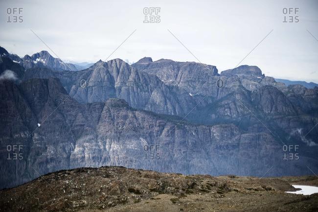 A foggy mountain ridge