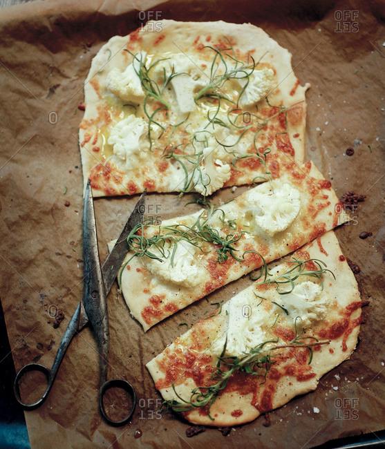 Homemade pizza with cauliflower