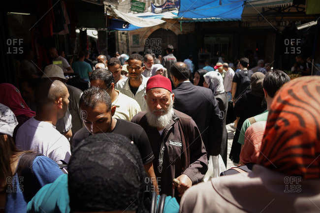 Gerusalem, Israel - April 26, 2013: People at a crowded market