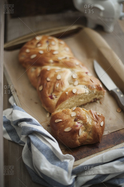 Close up of cranberry cardamom bread