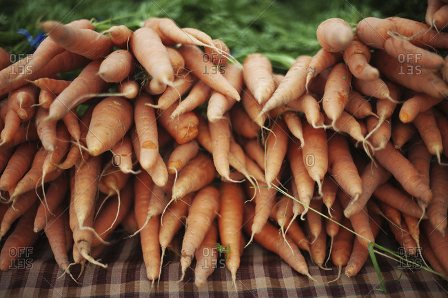 Close up of carrots at a market