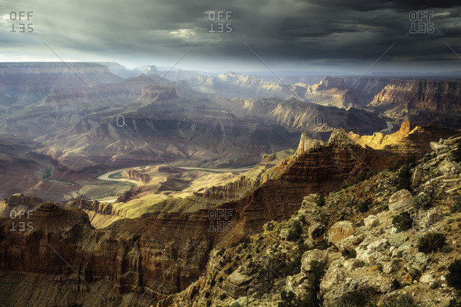 Afternoon light in the Grand Canyon and Colorado River.