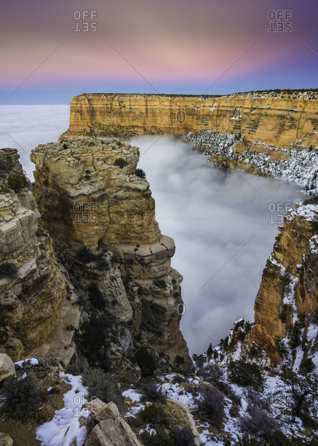 Temperature inversion, clouds fill the Grand Canyon when cold air below the rim is trapped by warmer air above.