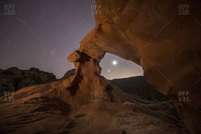 Planetary conjunction through Arch Rock