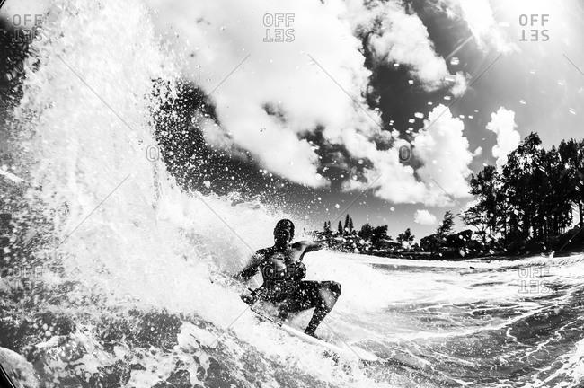 Local hawaiian surfing midday - Offset