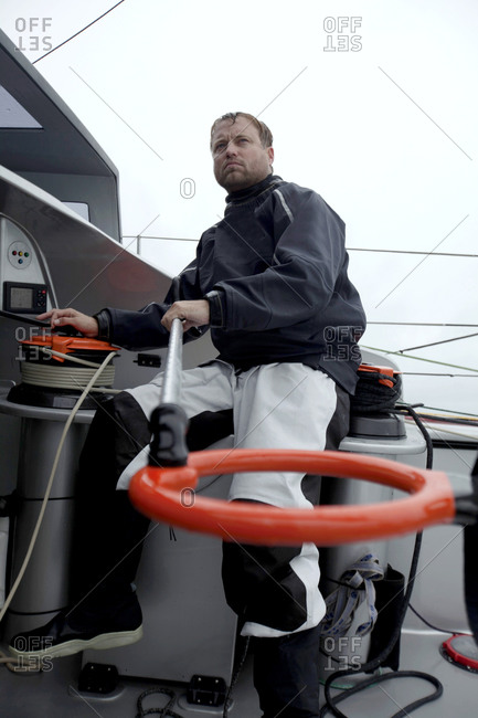 Onboard a boat during a training session in the English Channel.