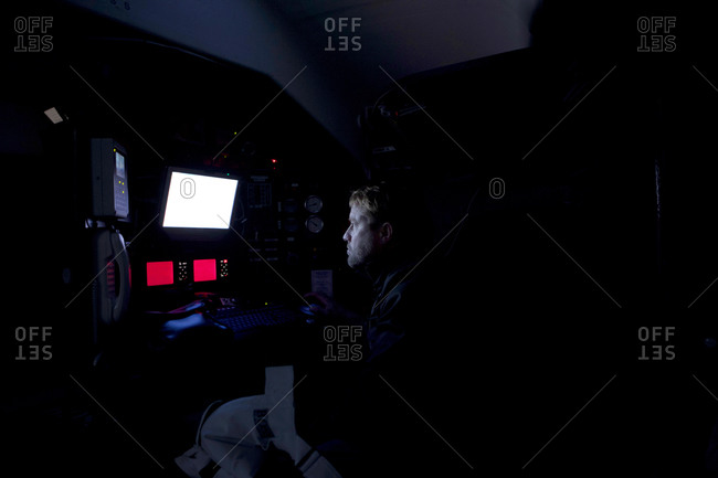 Inside a boat during a training session in the English Channel.
