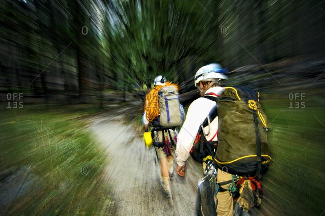 Climbers approaching El Capitan, Yosemite Valley.