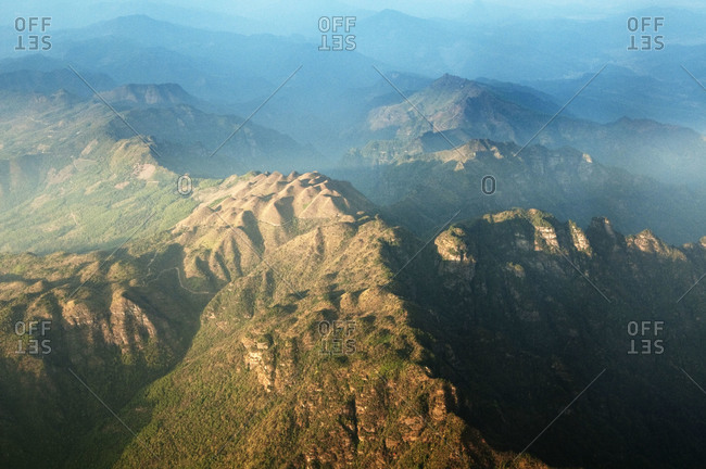 Flying over the mountains en-route to Guilin, China