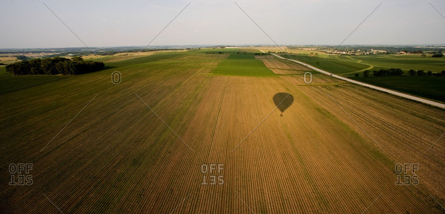 Shadow of a hot air balloon