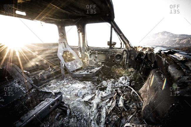 A burned out truck at sunset as a result of the Jesusita Wildfire in Santa Barbara.
