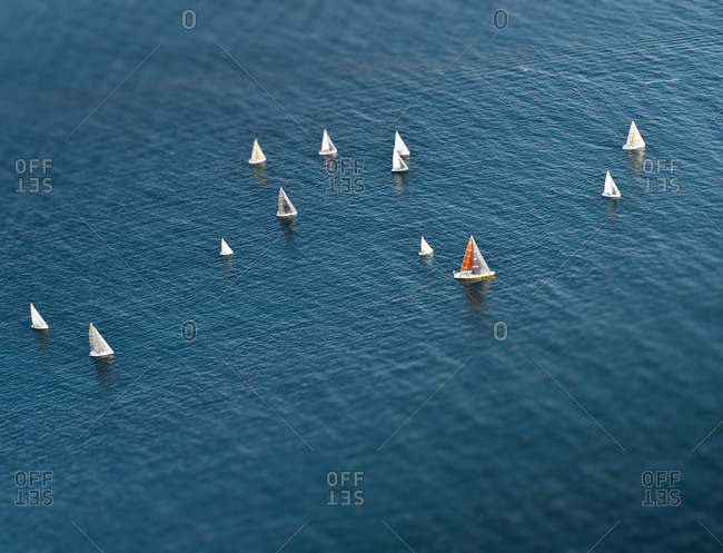 An aerial view of sailboats lining up for a race in Santa Barbara, CA.