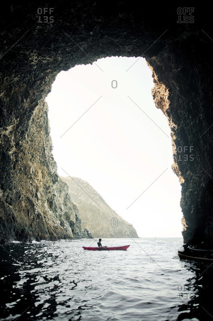 Resting in the calm of a large sea cave in the Channel Islands off Santa Barbara CA