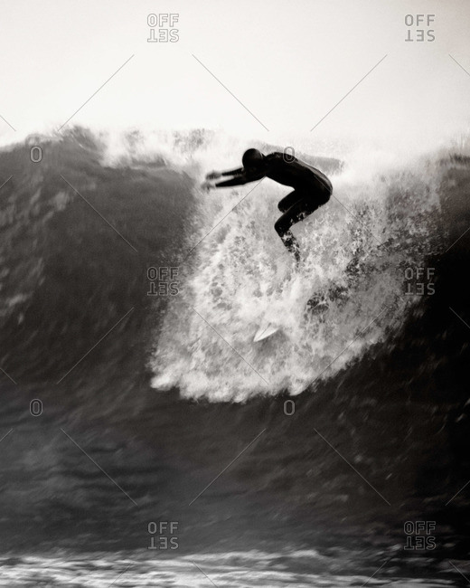 Surfing Rincon Point in Santa Barbara, California.