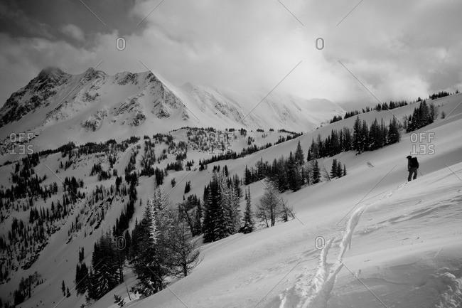 A lone skier peers down his run.
