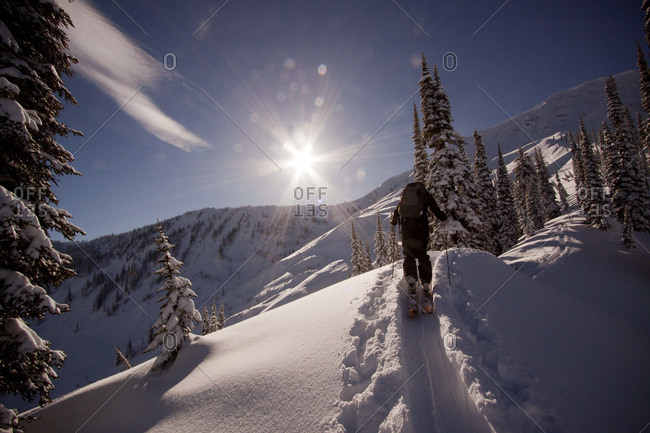 A backcountry skier skins up the ridge on a sunny winter day.