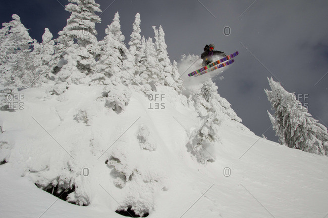 A skier catches air over a little cliff surrounded by snowcovered trees.