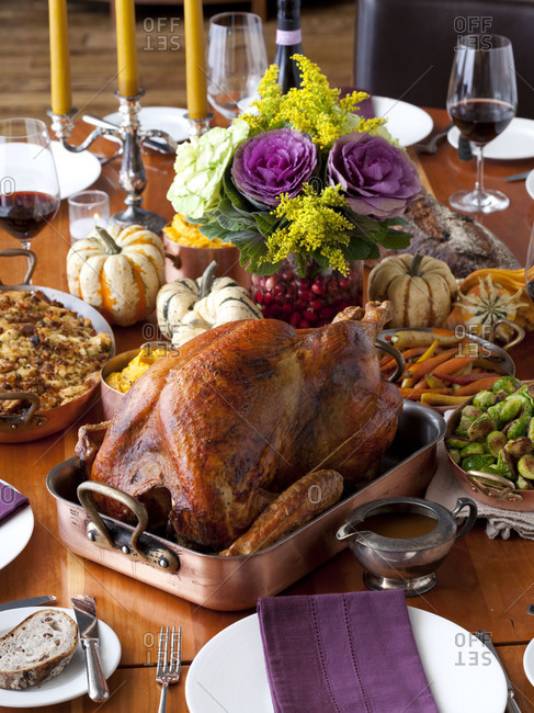 Thanksgiving dinner served on a table