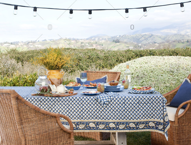 Table set for an outdoors party