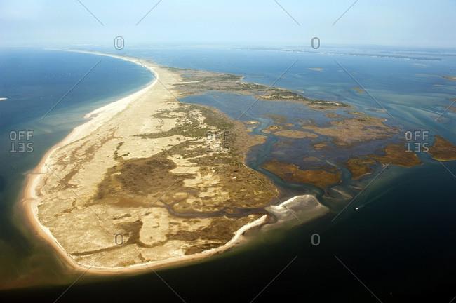 Aerial view of Shackleford Banks, Beaufort, North Carolina.