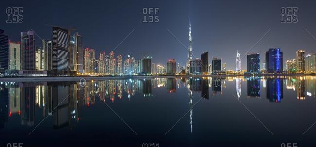 Dubai skyline of modern architecture and view of Burj Khalifa skyscraper