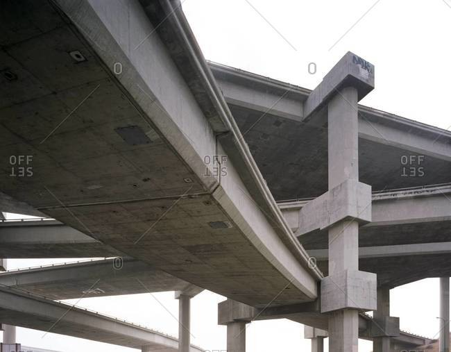 Series of freeways seen in an overpass