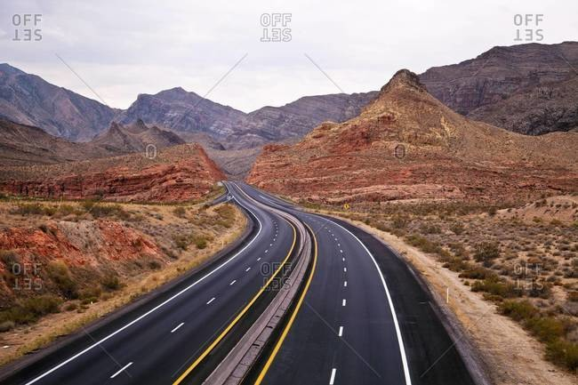 Looking south on Interstate 15 in the Virgin River Gorge, Northern Arizona