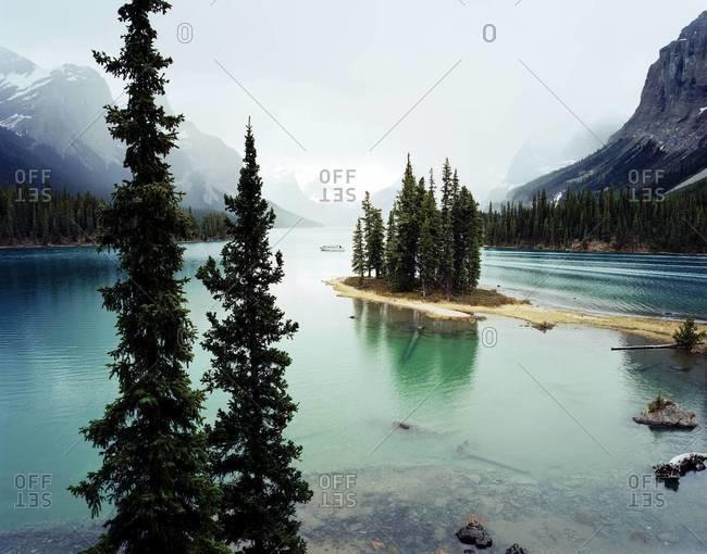 Spirit Island and Maligne Lake in Jasper National Park, Alberta, Canada