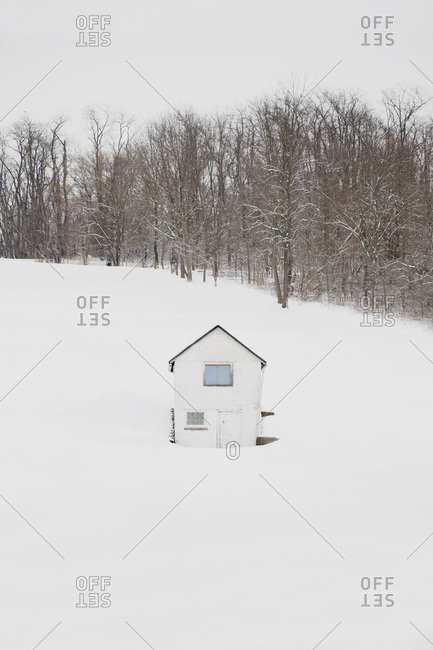 Countryside shed in the snow