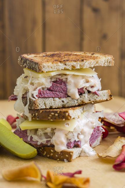 Reuben sandwich on table