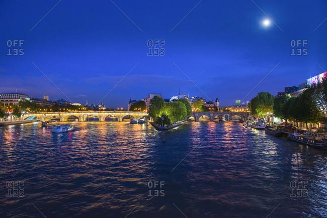 View of Ile Saint Louis at night, Paris, France