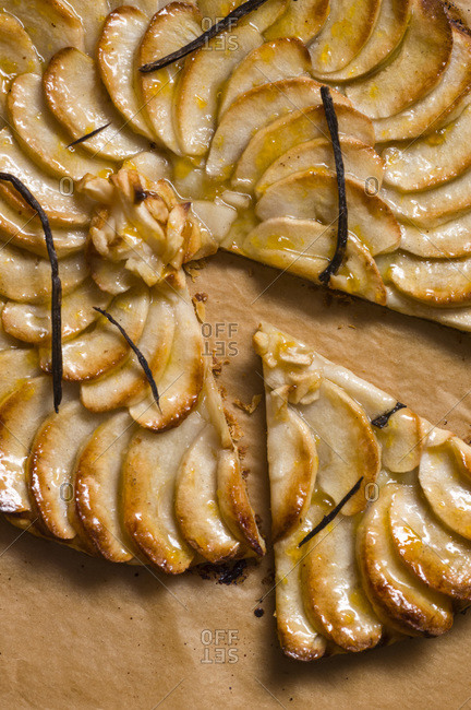 French apple tart served on parchment