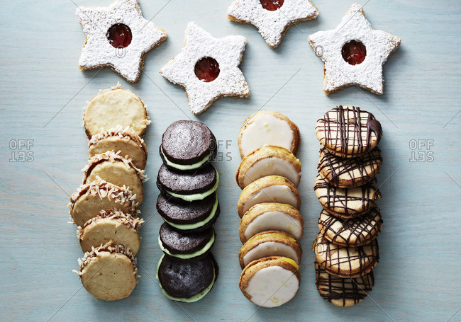 Top view of a selection of cookies