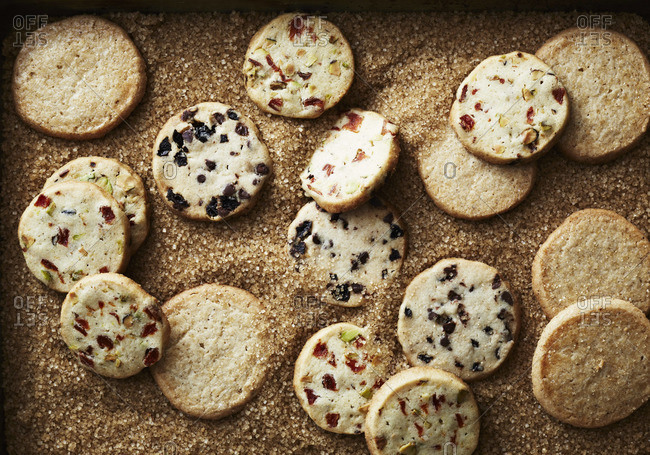 Top view of dried fruit cookies in brown sugar