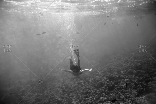 Man diving in the sea in black and white
