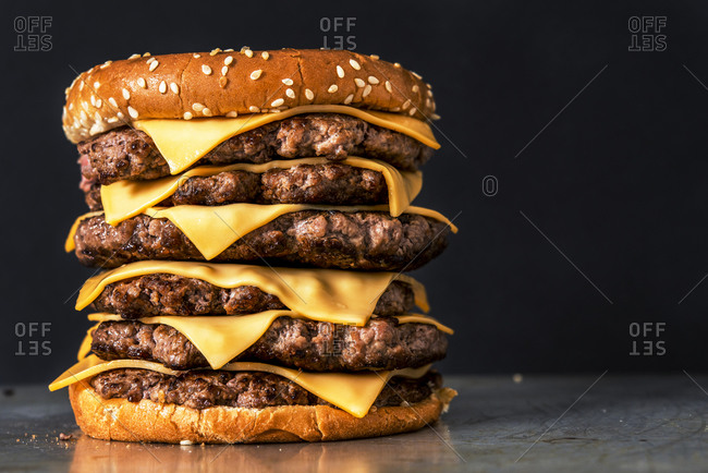 Front view of stacked hamburgers