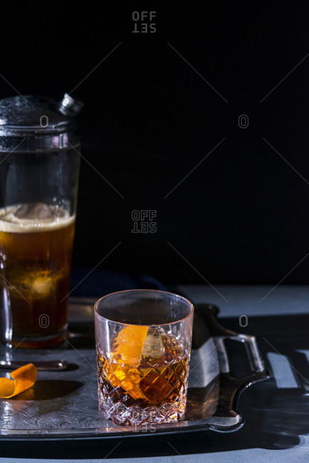 Old Fashioned cocktail with twist of citrus