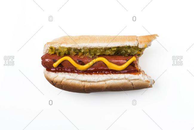 Hot dog over white background